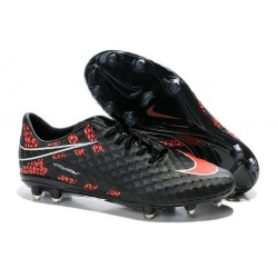 Chaussures Football Nike Hypervenom Phantom FG Noir Rouge Pack de Réflexion