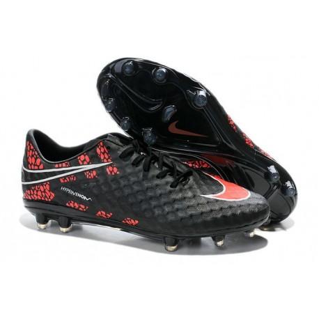 first rate 218c7 5fd33 Chaussures Football Nike Hypervenom Phantom FG Noir Rouge Pack de Réflexion