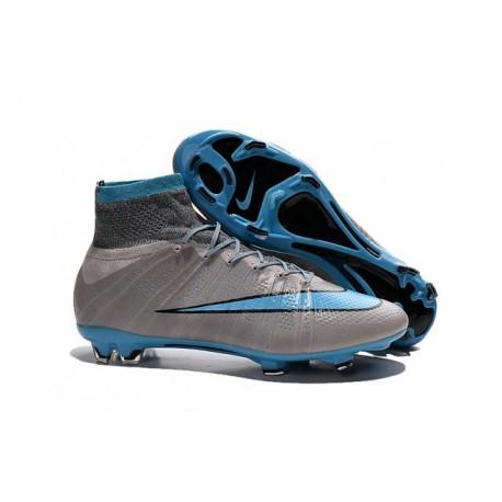 2015 Chaussures Nike Mercurial Superfly FG Bleu Gris Noir