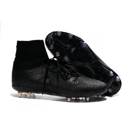 2015 Crampons Nike HyperVenom Phantom II FG Réfléchissant Chaussures Football tout Noir