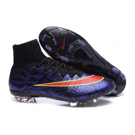 2015 Chaussures Nike Mercurial Superfly FG Léopard Violet Noir Rouge