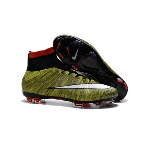 Nouveau Chaussures de Football Nike Mercurial Superfly 4 FG Volt Noir Blanc Multicolore