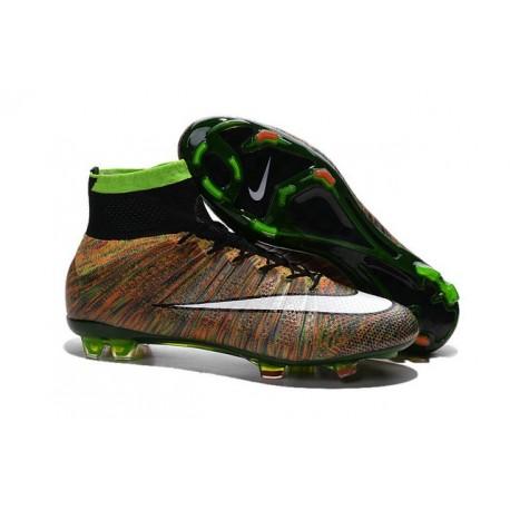 Nouveau Chaussures de Football Nike Mercurial Superfly 4 FG Vert Noir Blanc Multicolore