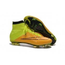 Nouveau Chaussures de Football Nike Mercurial Superfly 4 FG Cuir Jaune Volt Noir