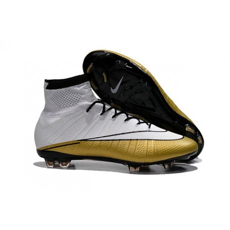 Nouveau Chaussures de Football Nike Mercurial Superfly 4 FG CR501 Blanc Or Noir