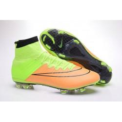 Nouveau Chaussures de Football Nike Mercurial Superfly 4 FG Cuir Beige Noir Volt