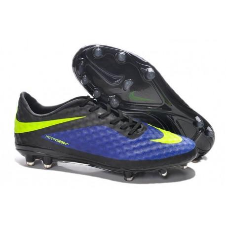 Nouveau Nike Hypervenom Phantom FG Chaussure de Football Hommes Bleu Noir Jaune