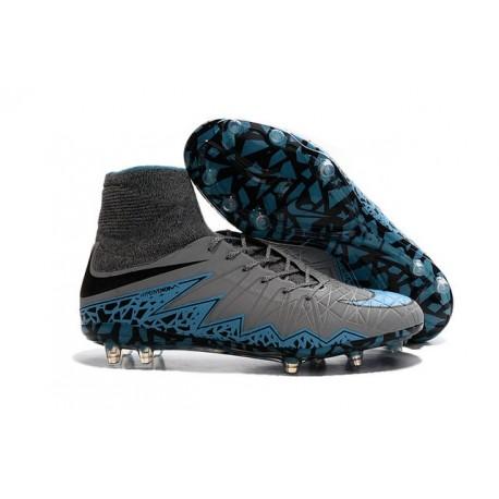 2016 Crampons Nike HyperVenom Phantom II FG Football Bleu Gris Noir