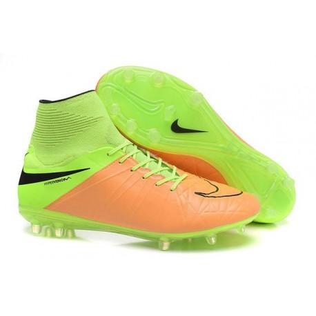 Nike HyperVenom Phantom II FG Football Crampons Cuir Beige Noir Volt