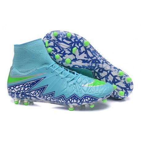 2016 Crampons Nike HyperVenom Phantom II FG Football Bleu Vert Blanc