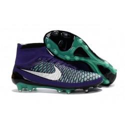 Nouvelle Crampons Nike Magista Obra FG Hommes Vert Violet Noir Blanc