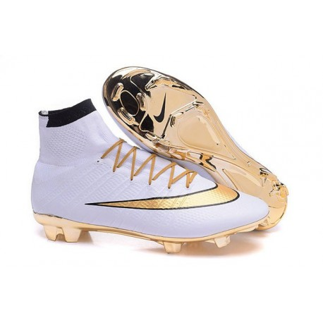 2016 Chaussures Nike Mercurial Superfly FG Blanc Or Noir