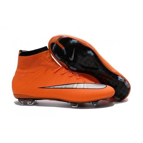 Nouveau Chaussures de Football Nike Mercurial Superfly 4 FG Orange Argenté Noir