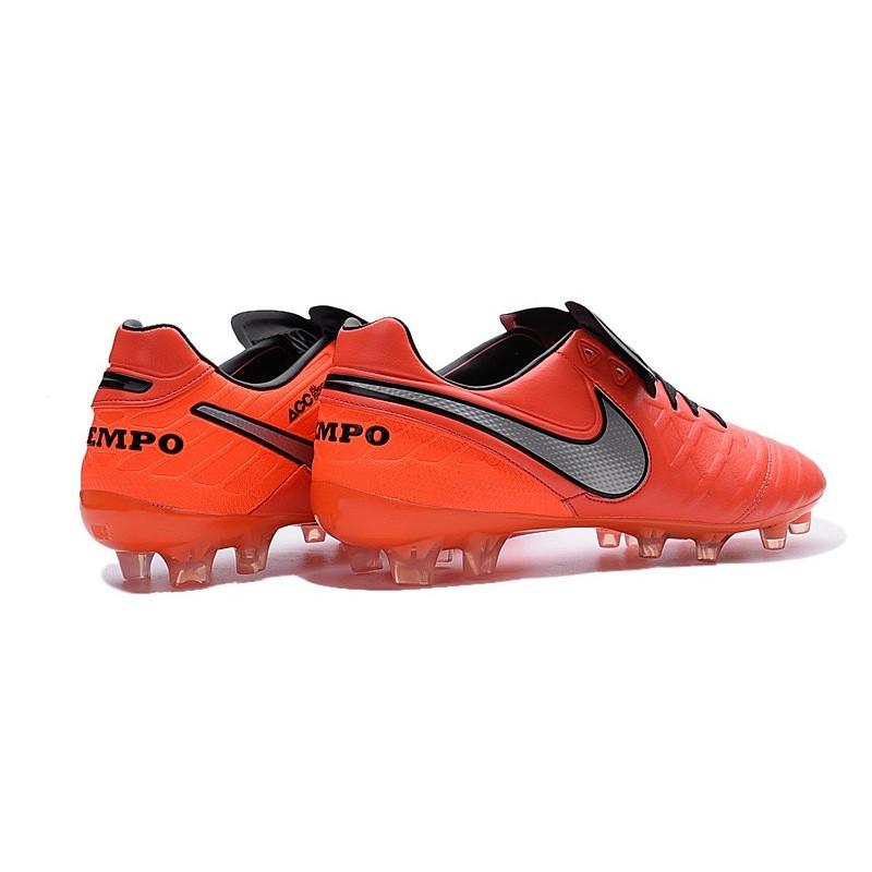 more photos b74e2 a0819 Chaussures Nike Tiempo Legend 6 FG Pas Cher Orange Noir Gris