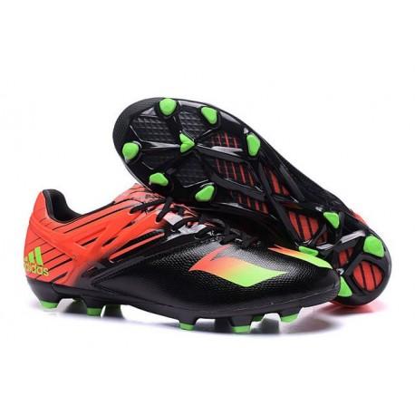 Nouveau Adidas Messi 15.1 FG Crampons de Football Noir Vert Rouge