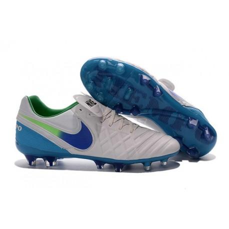 Chaussures Nike Tiempo Legend 6 FG Pas Cher Blanc Bleu Vert