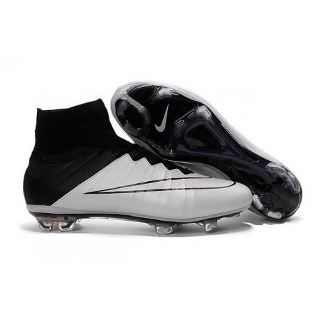 Nouveau Chaussures de Football Nike Mercurial Superfly 4 FG Blanc Noir Cuir
