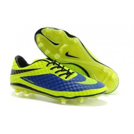 Nouveau Nike Hypervenom Phantom FG Chaussure de Football Hommes Bleu Vert