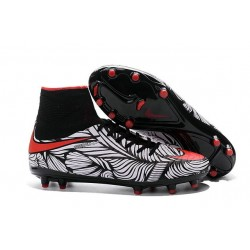 Nike HyperVenom Phantom II FG Football Crampons Noir Rouge Blanc