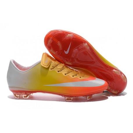 Nouvelle Crampons de Football Nike Mercurial Vapor X FG Orange Jaune Or Blanc