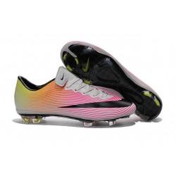 Nouvelle Crampons de Football Nike Mercurial Vapor X FG Blanc Noir Volt Orange Total