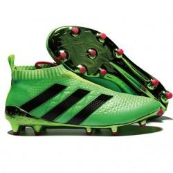 Nouveau Chaussures de Football Adidas Ace16+ Purecontrol FG/AG Solar Vert Noir Rose