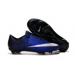 Nouvelle Crampons de Football Nike Mercurial Vapor X FG Bleu Royal Argent Noir