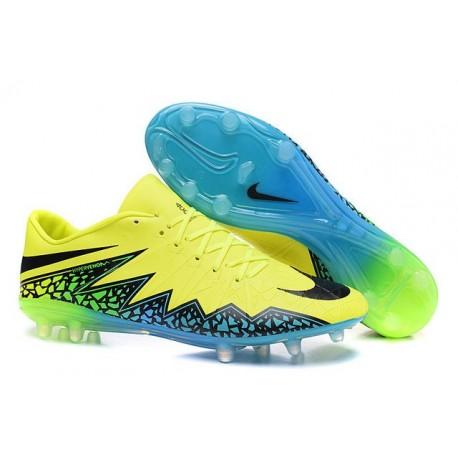 2016 Nike Hypervenom Phinish FG Chaussure de Football Volt Noir Hyper Turquoise