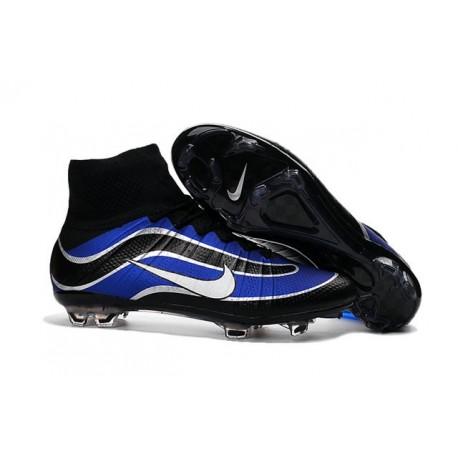 Nouveau Chaussures de Football Nike Mercurial Superfly Heritage FG Bleu Noir Argenté Blanc