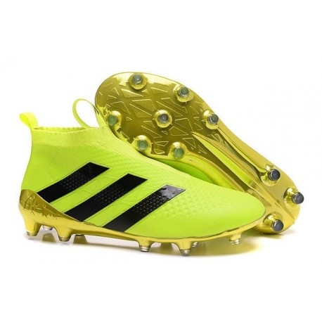 Nouveau Chaussures de Football Adidas Ace16+ Purecontrol FG/AG Volt Or Noir