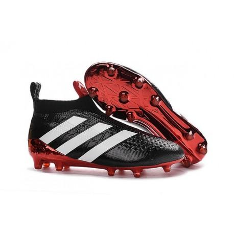 Nouveau Chaussures de Football Adidas Ace16+ Purecontrol FG/AG Noir Rouge Blanc