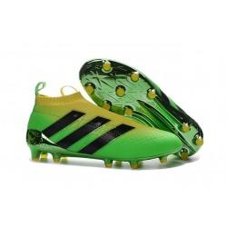 Nouveau Chaussures de Football Adidas Ace16+ Purecontrol FG/AG Solar Vert Jaune Noir - Jeux Olympiques Brésil