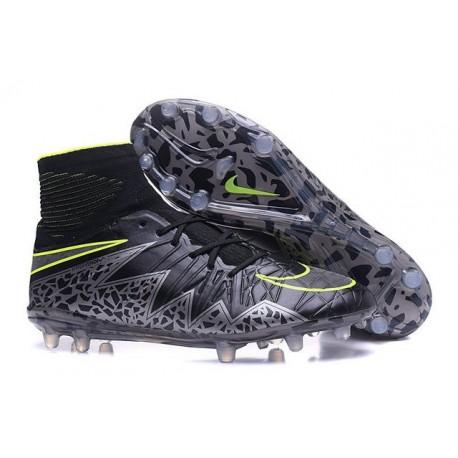 2016 Crampons Nike HyperVenom Phantom II FG Football Noir Hématite Volt