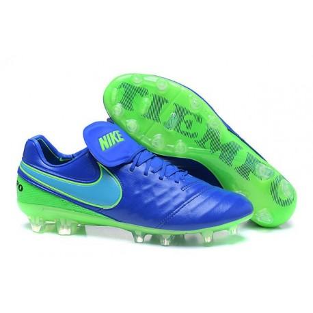 Nike 2016 Chaussures Nike Tiempo Legend VI FG Bleu Vert