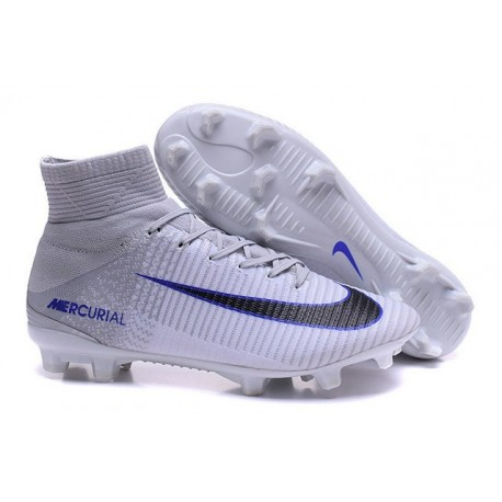 for whole family fashion style wholesale sales 2016 Crampons Foot - Nike Mercurial Superfly 5 FG Gris Blanc Noir