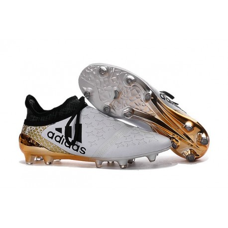 2016 Chaussures de football Adidas X 16+ Purechaos FG/AG Blanc Or Noir