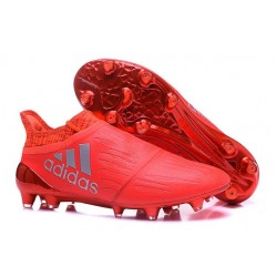 Adidas X 16+ Purechaos FG/AG - Crampons foot Pour Homme Argent Rouge