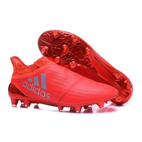 Adidas X 16+ Purechaos FG/AG - Crampons foot Pour Homme Argent Rouge