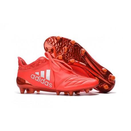 Nouveau Chaussures de footabll Adidas X 16+ Purechaos FG/AG Cuir Argent Rouge