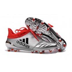 Adidas X 16+ Purechaos FG/AG - Crampons foot Pour Homme Cuir Argent Noir Rouge