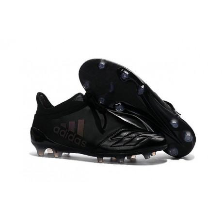 Nouveau Chaussures de footabll Adidas X 16+ Purechaos FG/AG Cuir Tout Noir