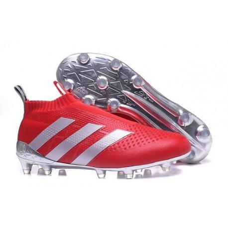 Nouveau Chaussures de Football Adidas Ace16+ Purecontrol FG/AG Rouge Argenté