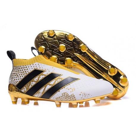 Nouveau Chaussures de Football Adidas Ace16+ Purecontrol FG/AG Stellar Pack Noir Blanc Or