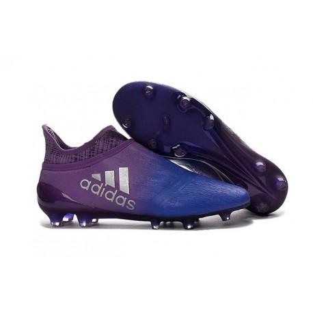 2016 Chaussures de football Adidas X 16+ Purechaos FG/AG Violet Bleu Argenté