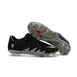 Nouvelle Chaussures de Football Nike Hypervenom Phinish FG Neymar x Jordan Noir Blanc Argenté