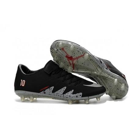 large choix de couleurs Los Angeles site professionnel Nouvelle Chaussures de Football Nike Hypervenom Phinish FG Neymar x Jordan  Noir Blanc Argenté