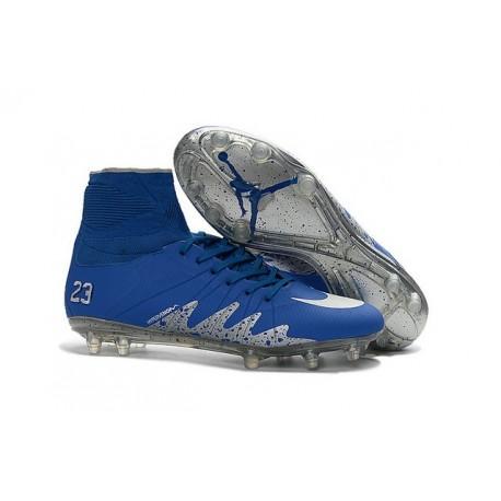 Nike HyperVenom Phantom II FG Football Crampons Neymar x Jordan Bleu Argenté
