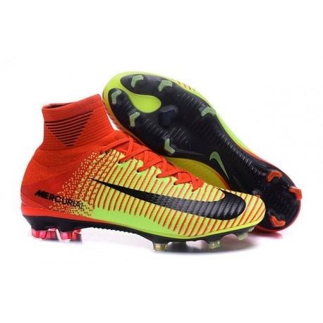 Chaussures de football Nike Mercurial Superfly 5 FG Pas Cher Rouge Volt Noir