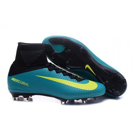 Nouvelles Crampons Nike Mercurial Superfly 5 FG Vert Jaune Noir