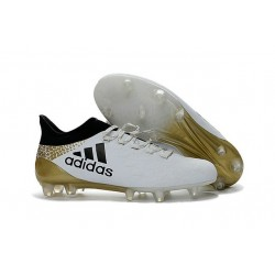 Adidas X 16.1 AG/FG - Nouveau Crampons football Blanc Noir Or
